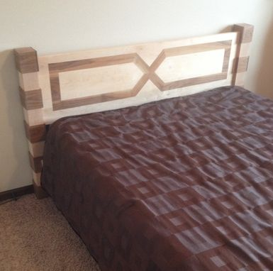 Custom Made Maple & Walnut Queen Size Bed Modern