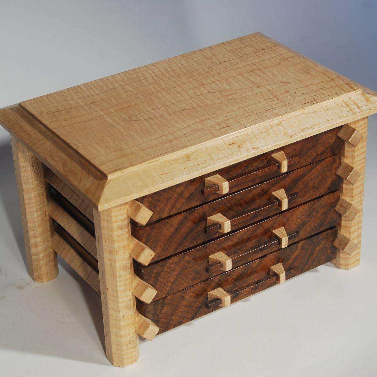 Handmade jewelry box in claro walnut and curly maple for Custom made ring box