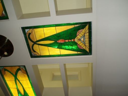 Hand Made Illuminated Stained Glass Ceiling Panels By