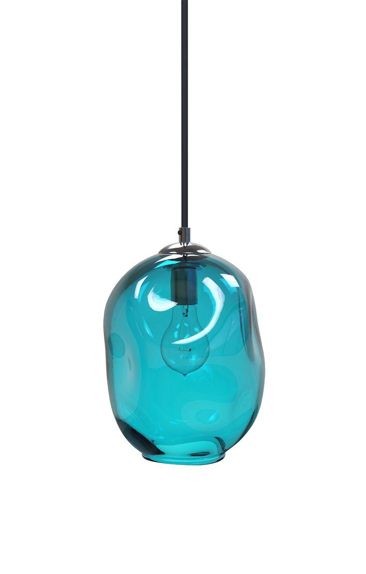 Buy Hand Made Aqua River Rock Hand Blown Glass Pendant Light ...