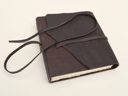 Custom Made Dark Brown Bull Hide Leather Bound Cowboy Journal Diary