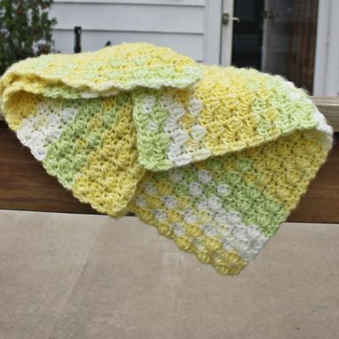 Custom Made Crochet Baby Blanket Warm Lemon Zest Yellow Tender Shoots Green White Shell