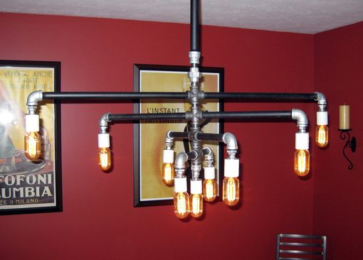 Custom Made Industrial Iron Pipe 9-Bulb Chandelier