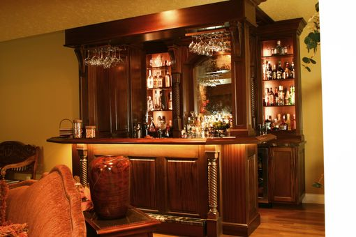 Custom Made Custom Mahogany Pub Style Bar