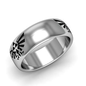 zelda triforce band sterling silver antiqued - Zelda Wedding Ring