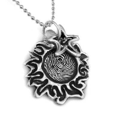 Custom Made You Are My Sunshine- Moon And Stars- Fingerprint Pendant