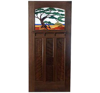 Custom Made Old Growth Redwood Contemporary Bungalow Door