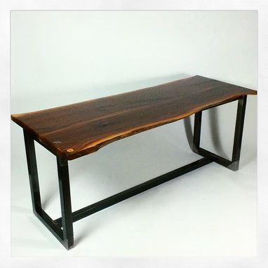 Custom Made Live Edge Slab Desk Or Table ... Industrial Live Edge