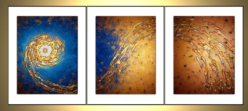 Custom Made Prints Of Original Contemporary Modern Abstract Gold Blue Metallic Painting-Star In The Night