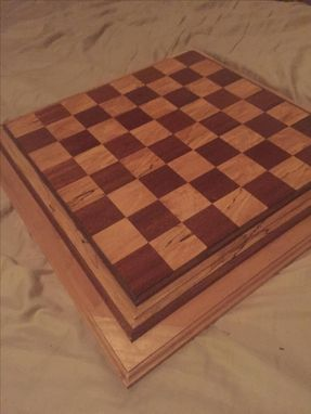Custom Made Mahogany And Spalted Maple Chess Board.