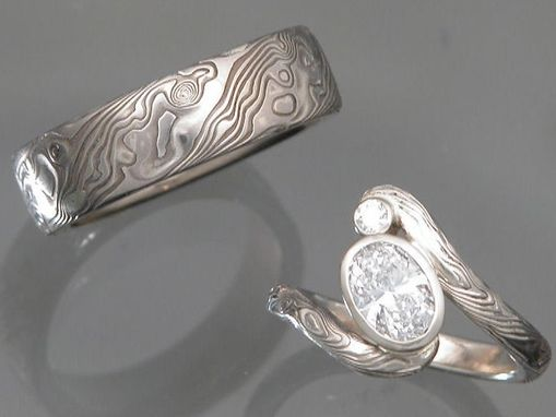 Custom Made 14k White Palladium Gold/Sterling Silver Mokume Gane Wedding Set