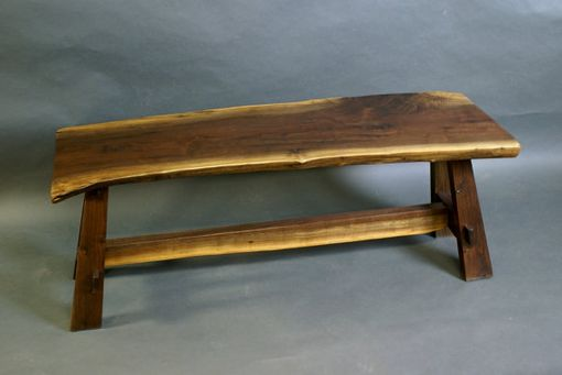 Custom Made Modified Craftsman Walnut Bench With Live Edge