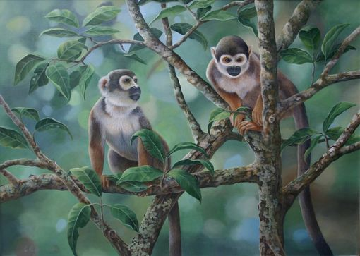 Custom Made Squirrel Monkeys - Acrylic Painting By Laura Regan