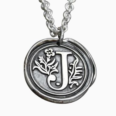 Custom Made Fine Silver Wax Seal Initial Necklace