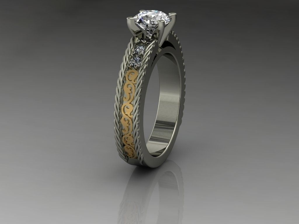 custom made 14kt ladies white gold and yellow gold western style diamond engagement ring - Western Wedding Rings