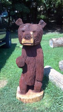 Custom Made Chainsaw Sculpture Of A Waving Bear