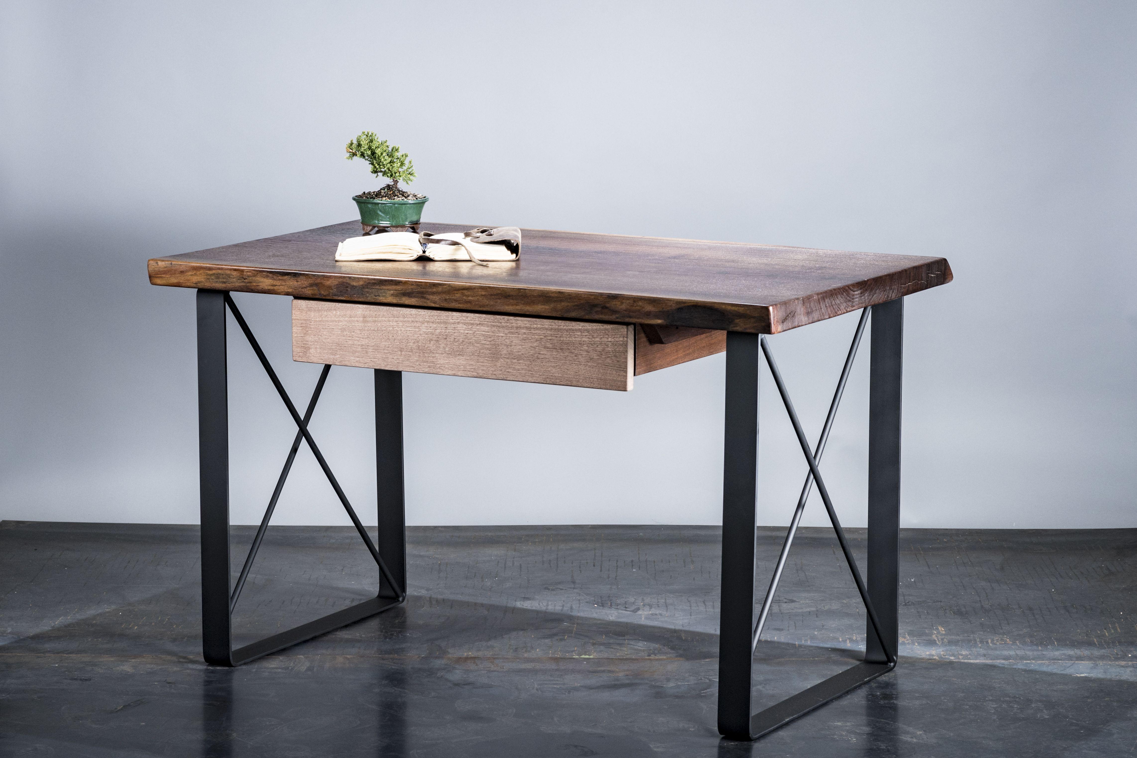Custom Made Live Edge Walnut Desk Optional Drawer Or Shelf