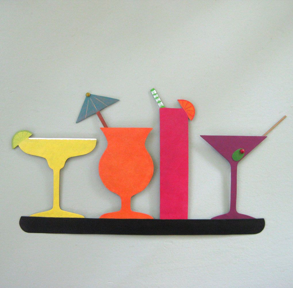 Custom Made Metal Art Sculpture Kitchen Wall Art Decor - Cocktail ...