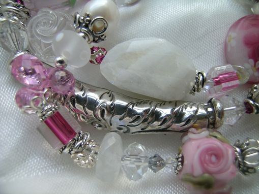 "Custom Made ""Bloomsbury"" Pink Posy Lampwork Scroll Luxe Gemstone Wrap Bracelet"