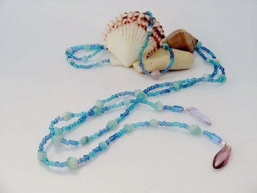 Custom Made Long. Tie On Necklace. Beach Jewelry. Ocean Blue And Pink. Surfboard Charms. Made In Maui.