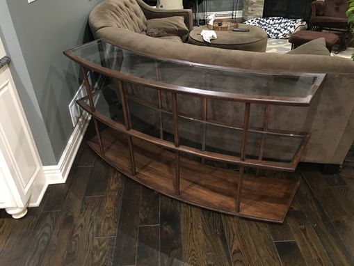 Custom Made Hickory And Glass Curved Sofa Table