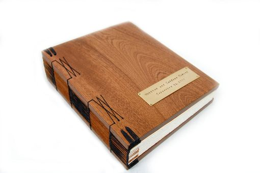 Custom Made Mahogany Guest Book With Wood Covers - Custom Wedding Personalized Anniversary Gift