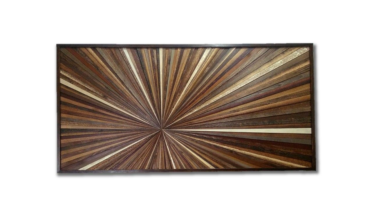 Hand made reclaimed wood wall art custom made wood starburst rustic modern contemporary wood - Modern rustic wall decor ...