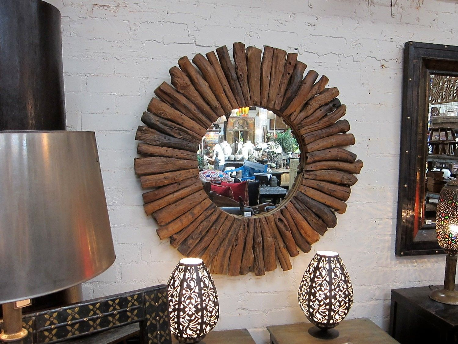 custom made reclaimed teak drift wood round mirror frame