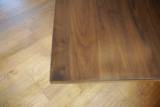 Custom Made Walnut Desk With End Table – Airy, Minimal, Straight Line Design