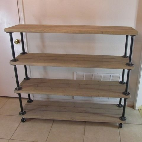 Custom Made Reclaimed Wood Shelf/Cart - Custom Made Reclaimed Wood Shelf/Cart By Vintage Steel And Wood