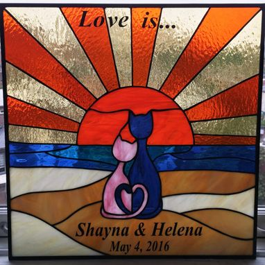"Custom Made Stained Glass Panel - ""Love Is..."" (P-55)"
