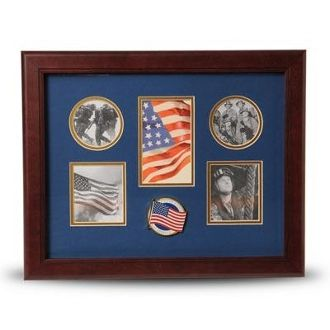 Custom Made 5 Picture Collage Frame American Flag Medallion