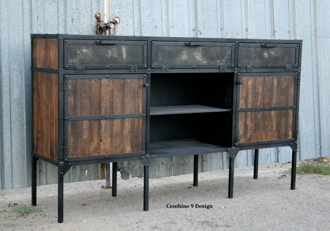 Buy a custom buffet hutch vintage industrial mid century for Buy reclaimed wood online