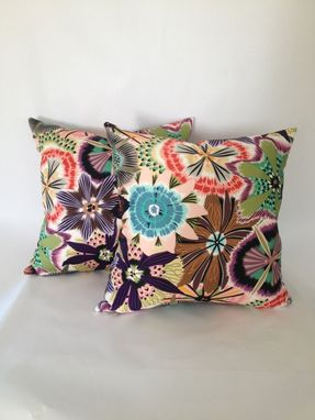 Custom Made Italian Hand Painted Floral Print Sateen Pillow Cover