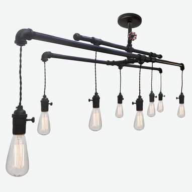 Custom Made Barn Metal Industrial Custom Pipe And Cloth Cord Chandelier - 8 Light