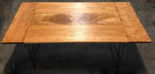 Custom Made Solid Cherry Coffee Table With Burl Inlay And Harpin Legs