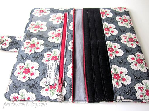 Custom Made Handmade Women Grey Wallet Small Red Roses