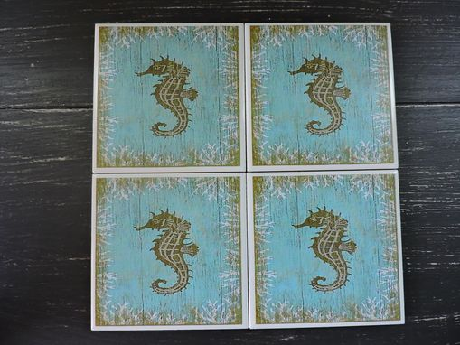 Custom Made Seahorse Beach Theme Ceramic Coasters