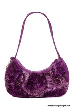 Custom Made Wisteria Custom Purple Leather Hobo Handbag Shoulder Bag By Bbeauty Designs