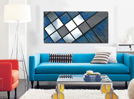 Custom Made Blue Grid 48x24 - Abstract Painting, Wood Art, Metal Art, Modern Decor, Modern Art, Large Art