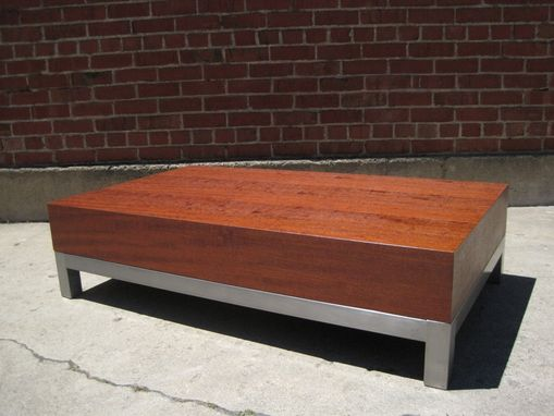 Custom Made Mass Modern Mahogany And Steel Coffee Table