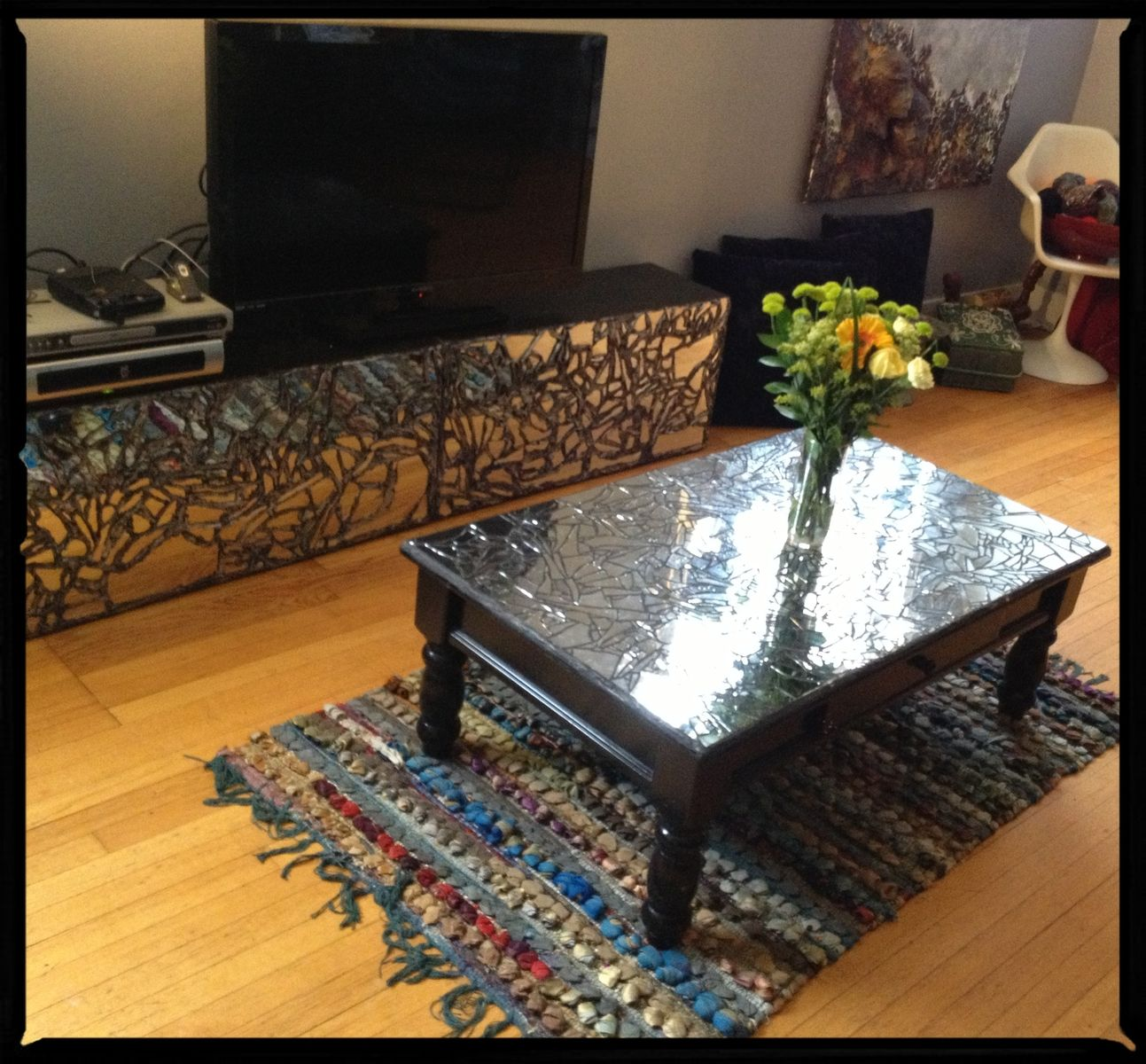 Custom Mosaic Mirrored Coffee Table By Jhenai Mootz Mixed