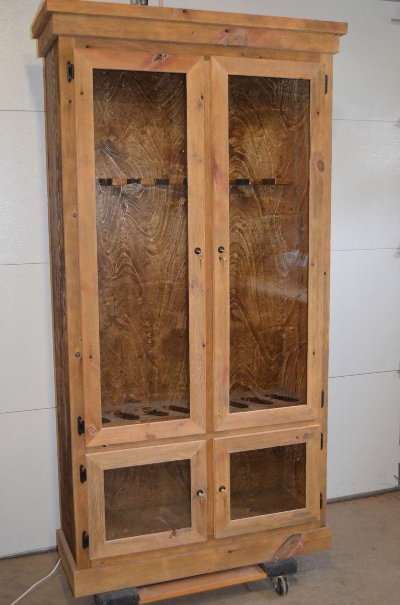 Custom Made Reclaimed Barnwood Gun Display Cabinet By