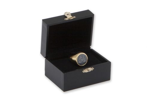 Custom Made 10 K Gold And Engraved Bloodstone Signet Ring