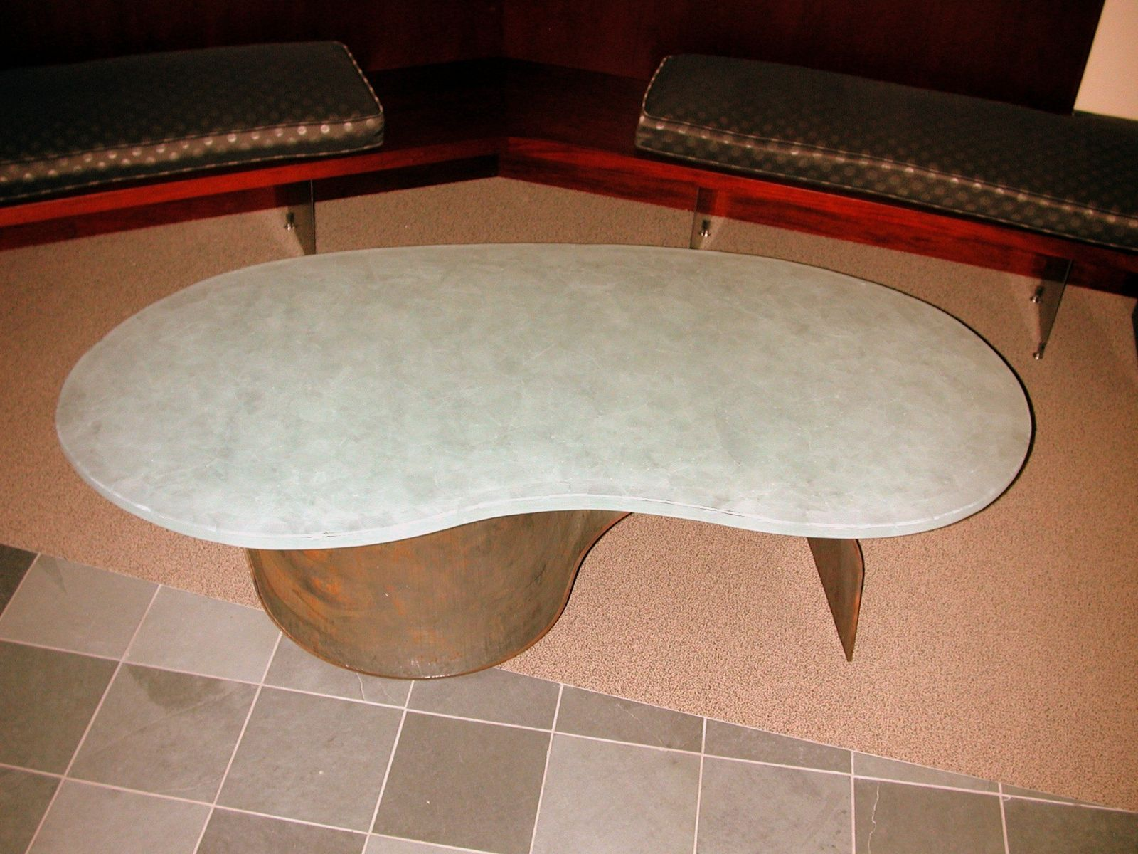 Buy a Custom Made Bean Shaped Cast Polygon Coffee Table made to