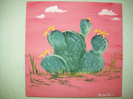 Custom Made Original Painting On Masonite Titled: Prickly Pear Cactus