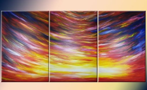"Custom Made Huge Original Red Sunrise Sunset Abstract 3ft X 6ft Painting By Artist Dan Lafferty - 36""X72"""