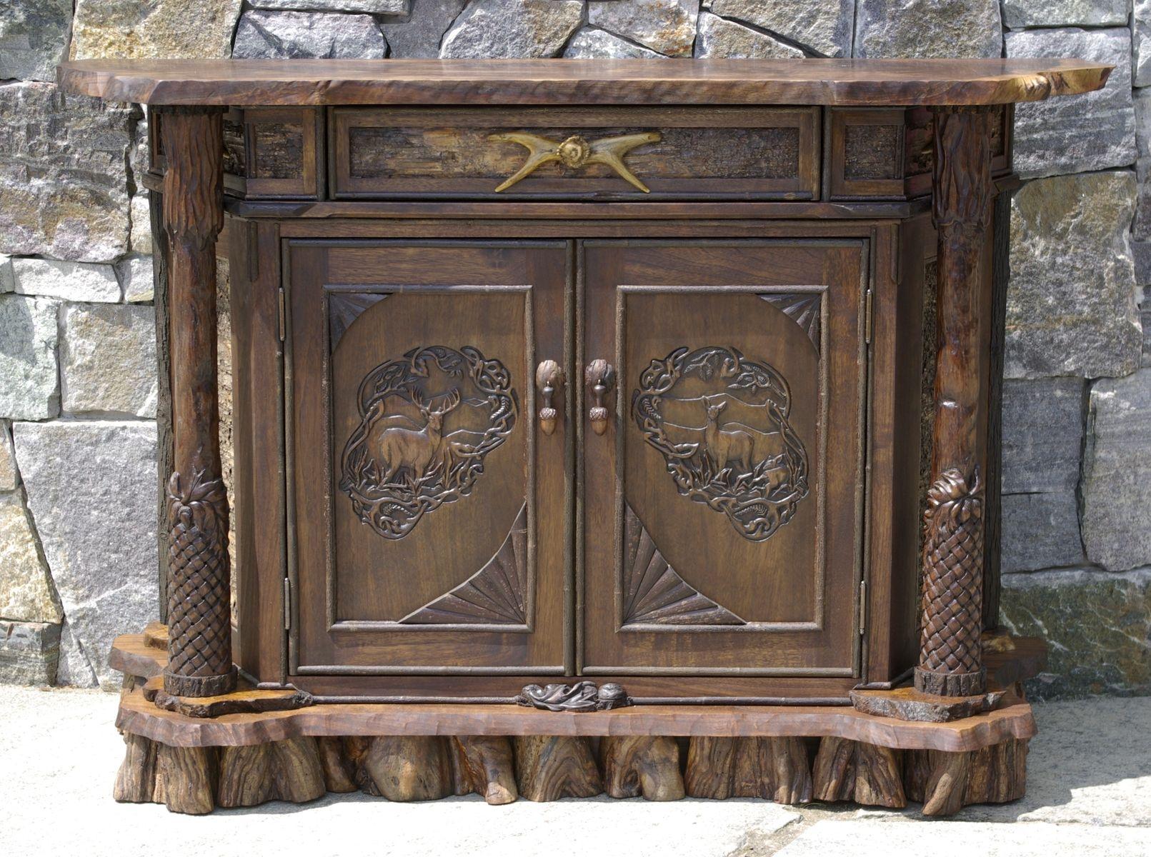 Custom Rustic Walnut Carved Cabinet by L. Post Rustics ...