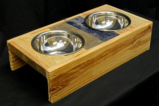 Custom Made Reclaimed Wood Dog Bowl Stand