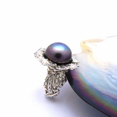Custom Made Tahitian Black Pearl Hibiscus Silver Ring